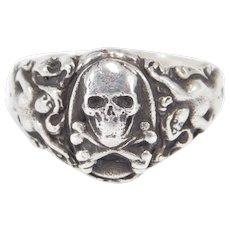 Very Rare Original Art Nouveau Nudes With Skull Crossbones Ring