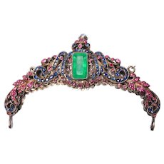 Antique Gem Encrusted Purse Frame Rubies Emerald Sapphires
