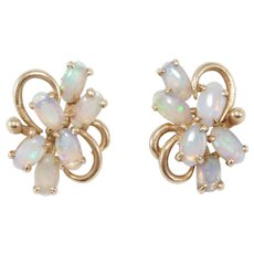 14k Estate Fine Opal Cluster Earrings Post Backs