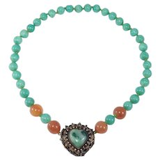 Old Chinese Jade Silver Necklace With Peking Glass Beads