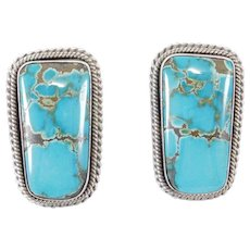 Stunning Artie Yellowhorse Navajo Turquoise Sterling Earrings