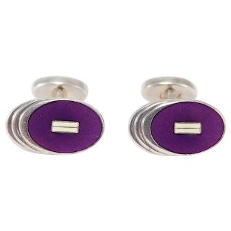 Vintage English Sterling Hallmarked Enamel Cufflinks