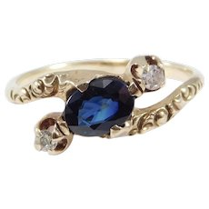 Victorian 14k Natural Sapphire Diamonds Ring