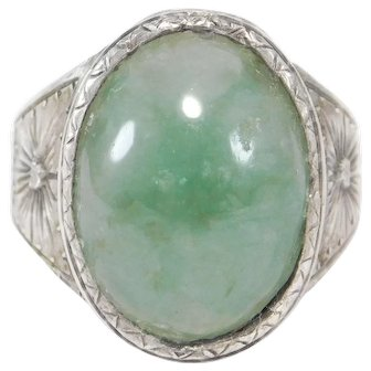 Engraved 800 Silver Jade Cabochon Ring Art Deco