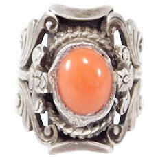 Ornate Old Chinese Silver And Coral Cabochon Ring