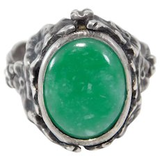 Antique 800 Silver Ornate Jade Cabochon Ring Beautiful