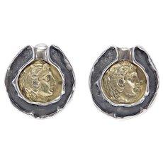 925 Modernist Celia Harms Mexican Earrings Roman Coin Design