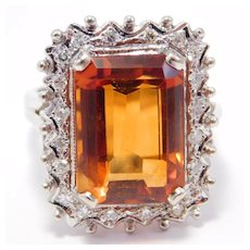 Incredible Retro 14k Madeira Citrine And Diamonds Ring