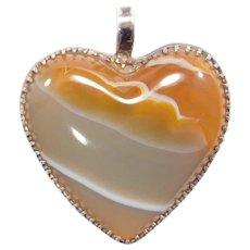 Pretty Sterling Antique Agate Heart Pendant
