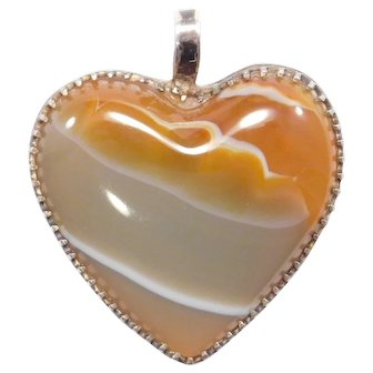 Pretty Sterling Antique Agate Heart Pendant