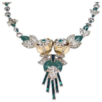 Early Coro Quivering Camellia Trembler Enamel Deco Necklace Patent 1938