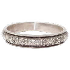 Old Ornate Silver Double Dragon Chinese Repousse Bangle Bracelet
