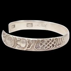 Old Chinese Silver Bats Design Bangle Bracelet Ornate