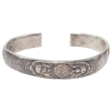 Heavy Old Chinese Silver Bracelet With Six Bats Old Marks