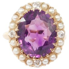 Antique Amethyst Mine Cut Diamonds And Pearls Ring 14k Gorgeous