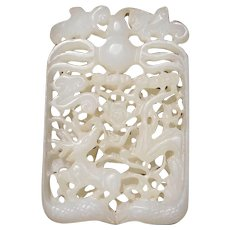 Old Chinese Carved White Jade Pendant Double Sided Ornate Certified