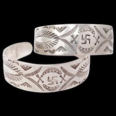 Matched Pair Old Navajo Silver Fred Harvey Era Bracelets Whirling Log