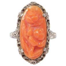 Ornate Antique Silver Carved Coral Ring Beautiful Floral