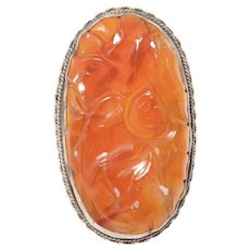 Large Ornate Chinese Carved Carnelian Silver Ring