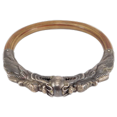 Old Chinese Silver Double Dragon Rattan Bangle Bracelet