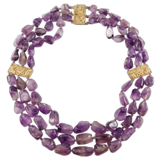 Antique Chinese Triple Strand Amethyst Beads Necklace Ornate Filigree