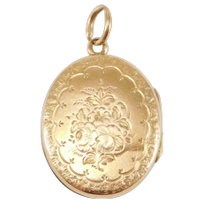 Victorian 14k Engraved Rose Gold Locket 1880