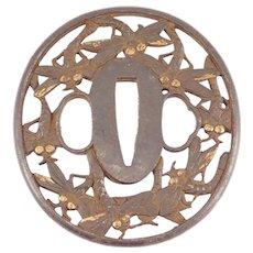 Antique Iron Japanese Tsuba Ornate Dragonfly Design