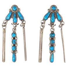 Dangling Turquoise Silver Vintage Southwest Earrings Petit Point