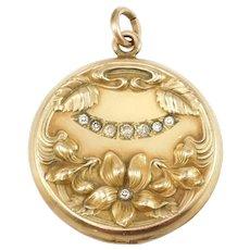 Art Nouveau Gold Filled Repousse Floral Locket Ornate