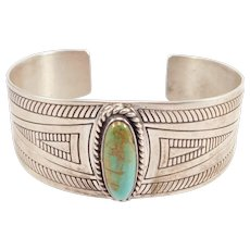 Signed Southwest Turquoise Silver Cuff Carol Felley