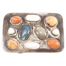Modernist Buckle Silver Opals And Labradorite