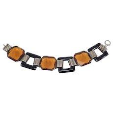 Sterling Art Deco Glass Geometric Bracelet