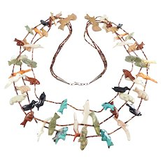 Zuni Triple Strand Fetish Necklace Carved Animals Natural Stone