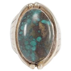 Beautiful Large Turquoise Southwest Silver Ring Old