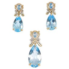 Beautiful Michael Valitutti Topaz Sterling And 14k Earrings And Pendant
