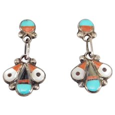 Inlay Silver Drop Earrings Southwest Handcrafted