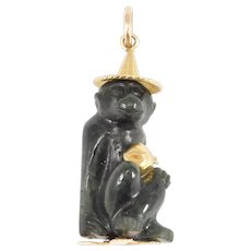 Estate Carved Jade Monkey Charm 14k Pendant Statue