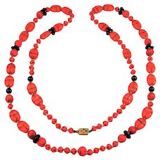 Vintage Egyptian Revival Red Czech Glass Scarabs Necklace