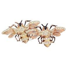 Sterling Corocraft Enamel Bee Duette Clip Brooch