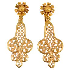 Pretty Ornate Filigree Miriam Haskell Drop Earrings