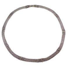 Early Ornate Heavy Silver Filigree Multi Chain Necklace Ethnic