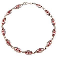 Modernist Sterling Almandine Garnets Choker Necklace