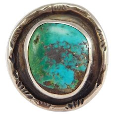 Old Ornate Silver Turquoise Ring Stampwork Southwest