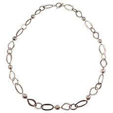 Modernist Hand Hammered Sterling Long Chain Necklace Silver Beads