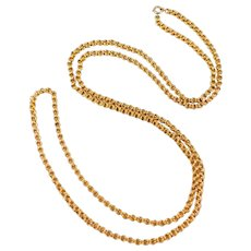 38 Inch Victorian Link Low Carat Gold Chain Beautiful Ornate Link 28 Grams