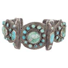 Rare Early Navajo Silver Cuff Bracelet Coin Silver Ingot