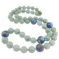Beautiful 10mm Hardstone Agate And Cloisonne Beads Necklace