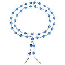 Old Peking Glass Melon Beads Art Deco Woven Silk
