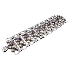 Extra Wide Amethyst Mexican Silver Bracelet Old