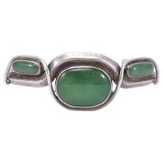 Unique Jade Coral Silver Modernist Cuff Bracelet Artist Signed